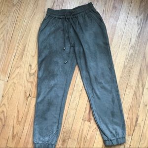 Army green suede-like joggers